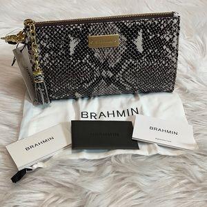 Brahmin Black And Gray Snakeskin Millie Wristlet